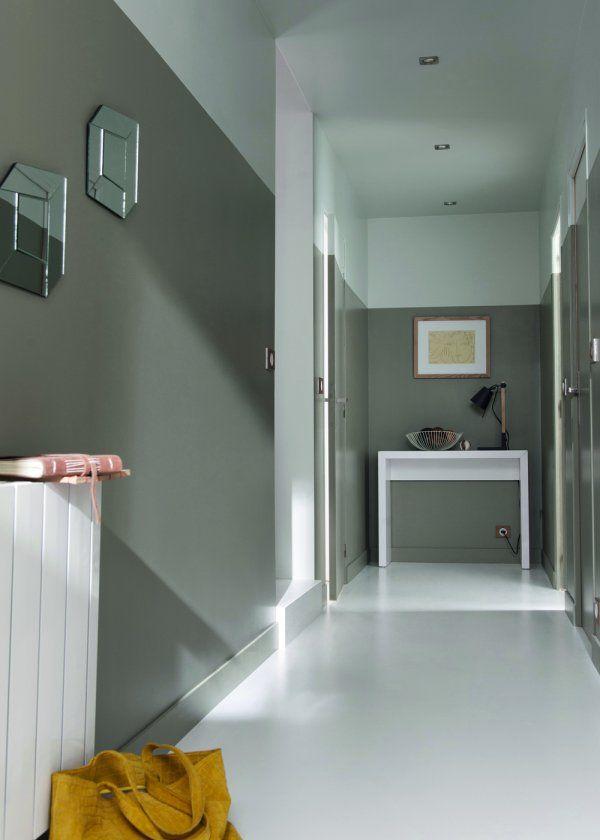 Couleur les nouvelles gammes de peinture castorama halls d 39 entr e couloir blanc et gris for Couloir d entree
