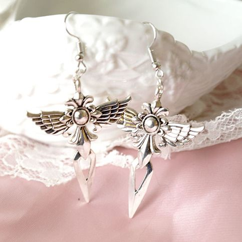 "Magic Witch Cross Angel Wing Gothic Chandelier Dangle earrings Romantic Elegance Bohemian Goth     Length include dangle 2.5""inches  ---------------------------------------  International Shipping - Ships Within 3 business days   Item location - Hong Kong   Estimated delivery time   United States..."