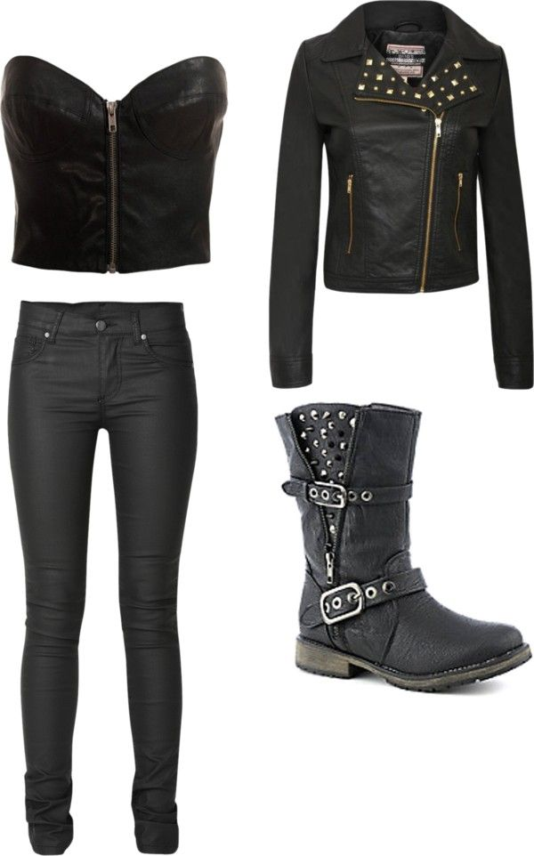 """biker girl outfit"" by sky-high1 on Polyvore"