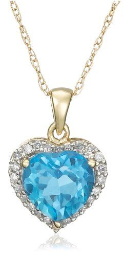10k White or Yellow Gold Birthstone and Diamond Heart Pendant Necklace, 18""