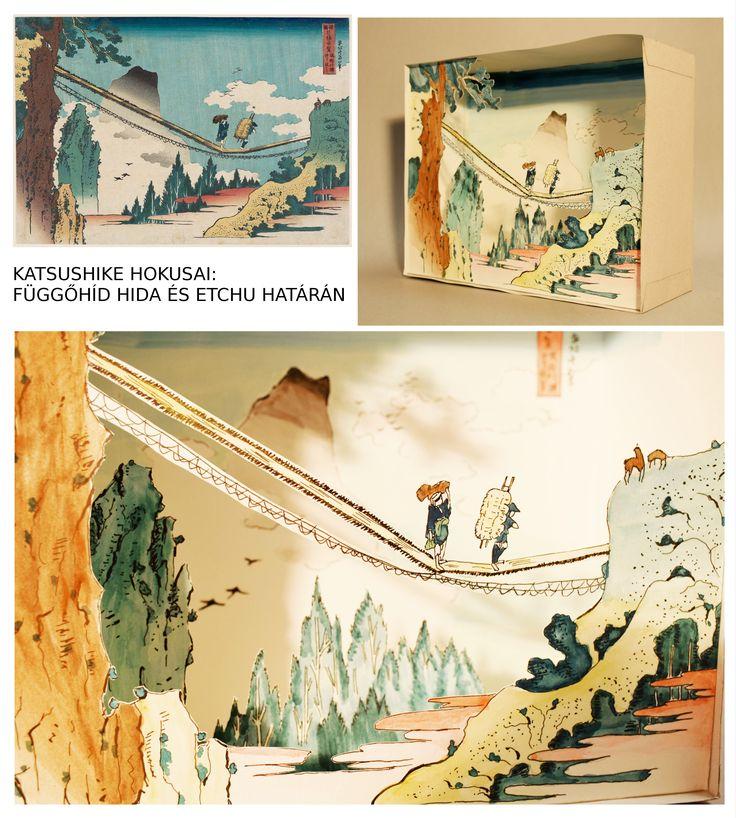 Németh Aliz, dioráma Katsushike Hokusai Függőhíd Hida és Etchu határán c. képe alapján / Németh Aliz, diorama after Katsushike Hokusai