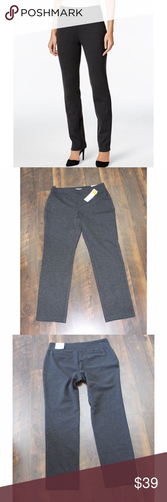 "Grey Cambridge Slim Pants Brand new heather grey Cambridge Slim Pant by Charter Club. They have an elastic waistband and faux pockets for a slimming look.   Size 12 Inseam 30"" Waist Laying Flat 17"" Rise 11"" Leg Opening 6.5""  Item Number: L1N75BF Charter Club Pants Straight Leg"