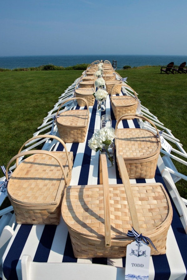 Personal picnic hamper and the gorgeous blue and white tablecloth by Zofia & Co. Photography.