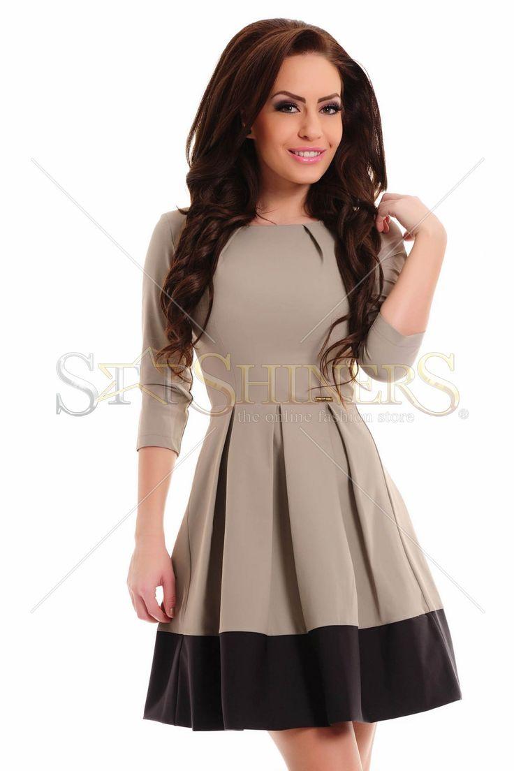 PrettyGirl Described Cream Dress
