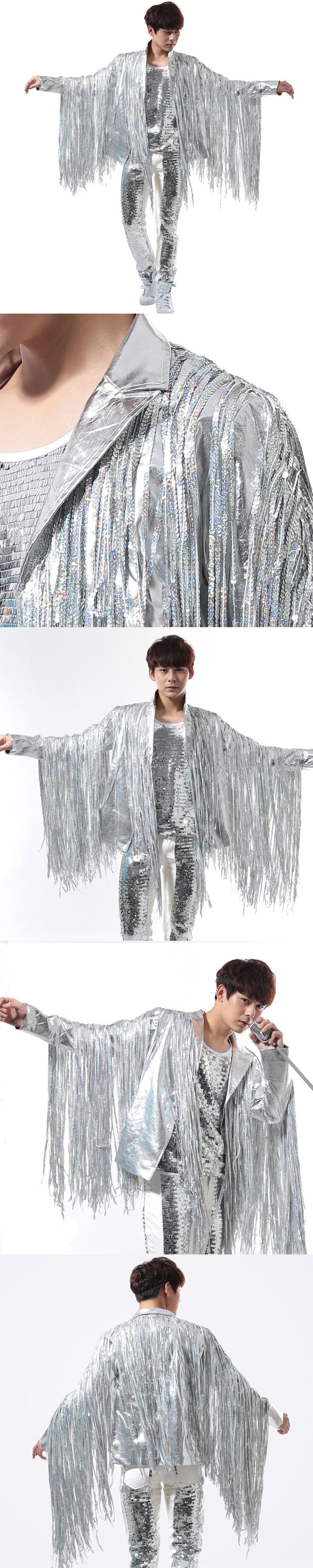 Customized 2016 new male personality nightclub singer pub rock punk fringed leather jacket silver stage costume Size S-6XL