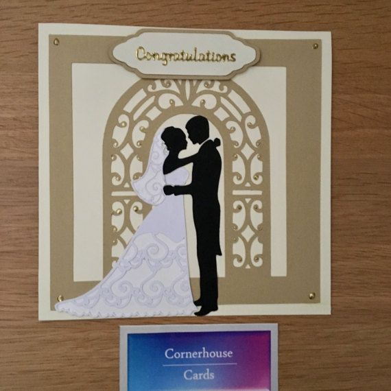 Congratulations card for wedding, stylish cream wedding card for bride and groom, congrats on marriage