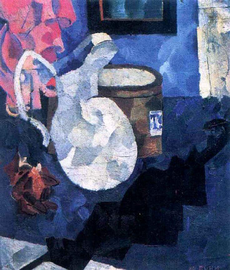 Иван Пуни. «Натюрморт. Кувшин, черный зонтик и шляпная коробка» 1910 г.