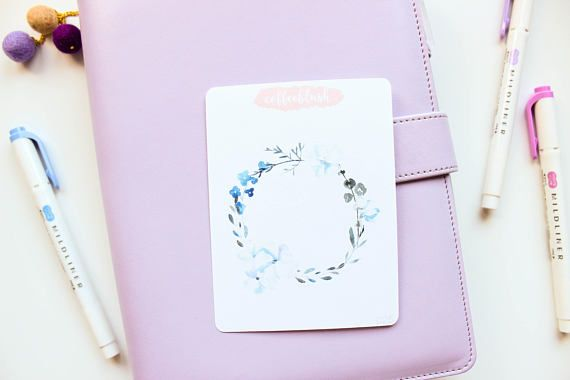 Large Watercolor Blue Floral Wreath Bullet Journal Decor