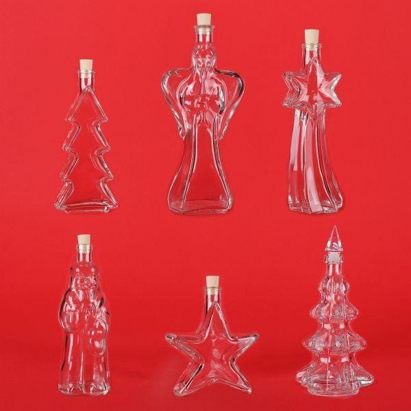 Weihnachtsflaschen leere Glasflaschen Weihnachten Likörflaschen Schnapsflaschen