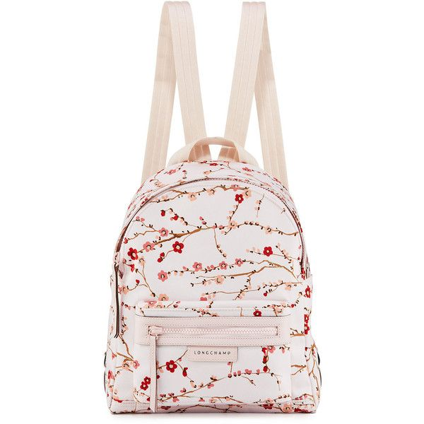 Longchamp Le Pliage N&o Small Sakura Backpack (495 AUD) ❤ liked on Polyvore featuring bags, backpacks, pink pattern, patterned backpacks, pink backpack, print bags, longchamp rucksack and backpack bags