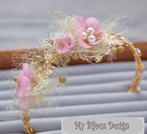 Gold Wedding Headpiece Bridal Hair Clips Pink by MyBijouxDesign