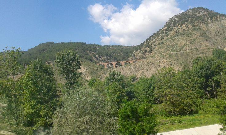 Mountain and railway bridge in Bilecik