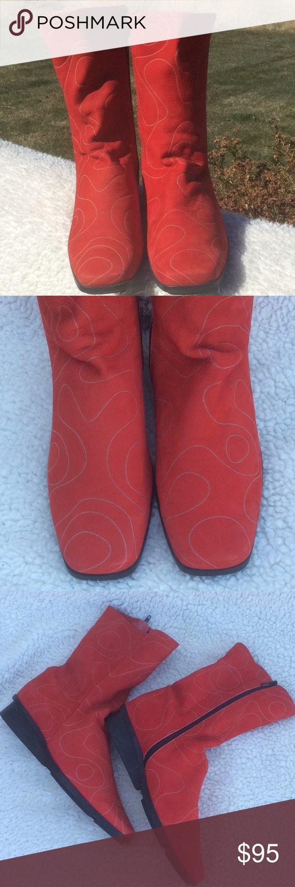 Arche Red Suede Zip Up Boots W/Swirl Design Sz 7.5 Unique