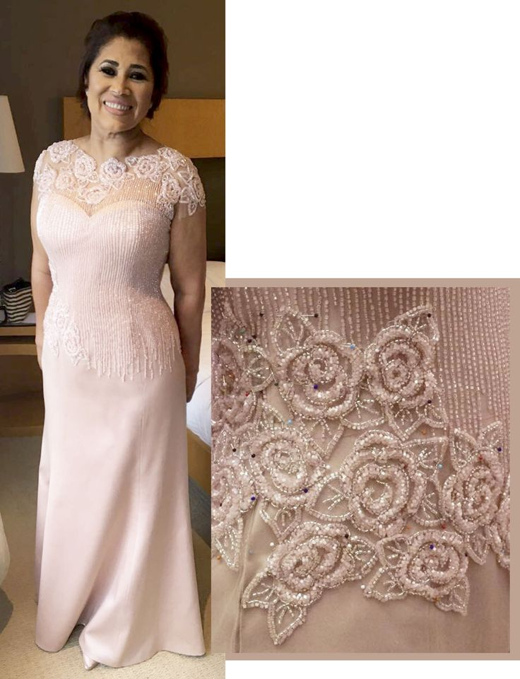 Vestido para mãe de noivo - Rosa com tule bordado com flores e raios. Feito sob medida Ateliê Esther Bauman Acquastudio São Paulo SP