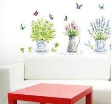 dámske elegantné kvetináče nástenné samolepky vanilkovej umenie DIY adesivo de Parede obrazy na stenu domáce obývacia izba kuchyňa dekorácie okien (Čína (pevninská časť))