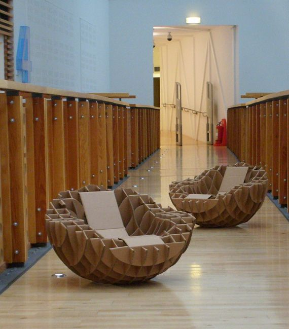 Hemisphere - Fraser Ross | AtelierFlat pack sculptural chairs from sustainable materials. Two chairs can be combined to create a sphere.