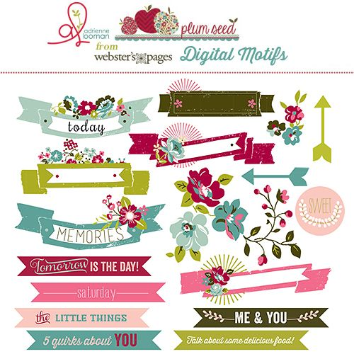 Plum Seed Digital Motifs - Websters Pages