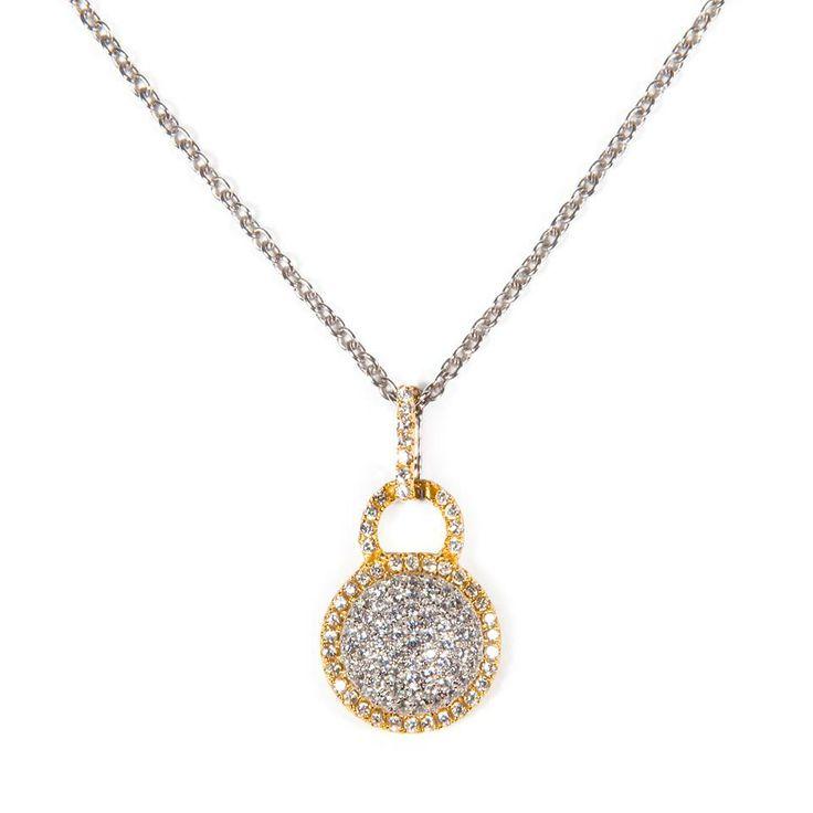 Raffinatissimo pendente in argento bicolore con zirconi incassati.  Sophisticated bicolor silver pendant with sparkling zircons.  #hotornot?