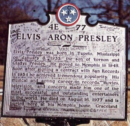 Elvis marker at Graceland~~I often wonder if they started the controversy over his tombstone intentionally by misspelling his middle name.