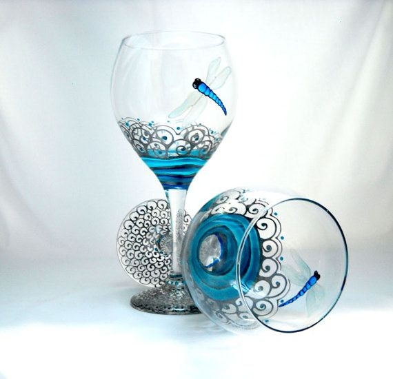 Blue Hand Painted Wine Glasses Dragonfly by SkySpiritStudios, $65.00