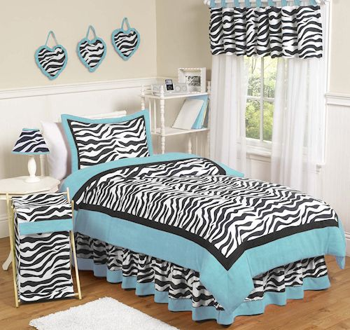 Blue Zebra Bedding Full / Queen 3pc Comforter Set for Girls Black White Zebra Print Turquoise Blue