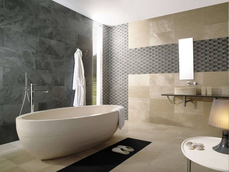 Bathroom. Handmade Cream Stone Standing Bath Tub On Cream Marble Tiled Flooring And Gray Stone Wall Panel Also Frameless Wall Mirror As Well As Designer Bathrooms Plus Freestanding Tubs. Freestanding Stone Baths For Decorating Your Comfort Bathroom