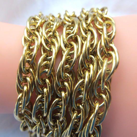 #Vintage Chain Link #Bracelet, Five Gold Chains, Chunky Statement Bracelet  Classic and elegant vintage goldtone chain bracelet with five chains.  The clasp is a fold over  l... #etsy #jewelry #vintage #bracelet #vintagevoguetreasure