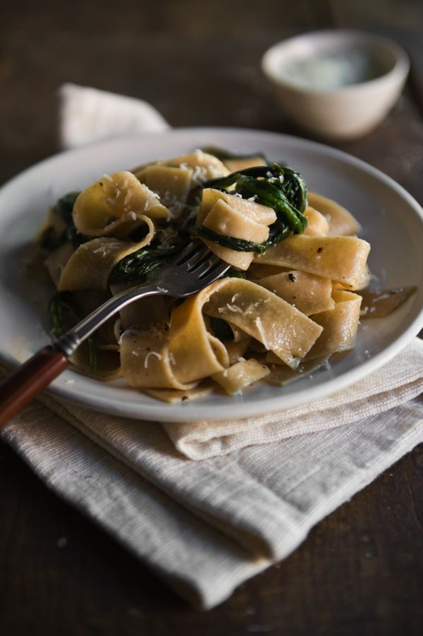 paparadelle with fresh ramps, garlic and pecorino.  made this for dinner.  DELISH!