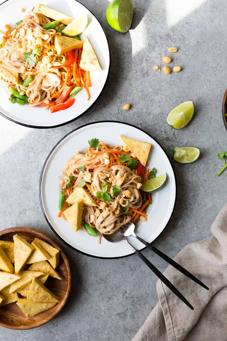 Chilled Spicy Peanut Noodles with Cripsy Tofu (Vegan, Gluten-Free), recipe adapted from the Vegetarian Heartland Cookbook - The Green Life