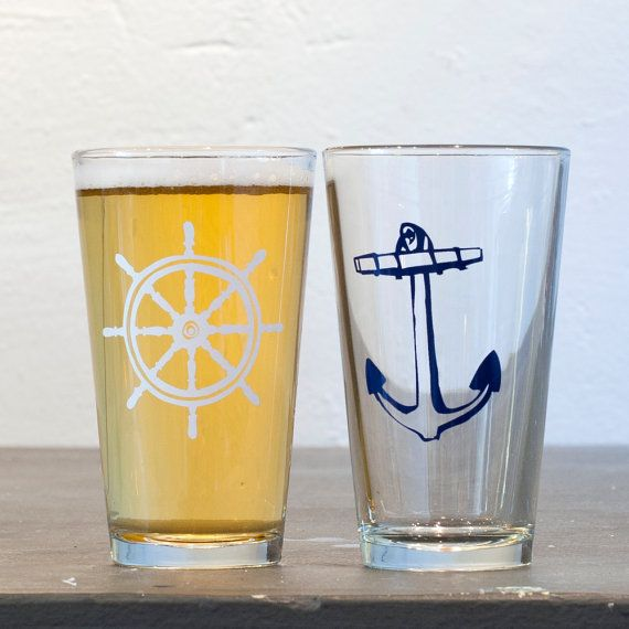 Wheel and Anchor  screen printed pint glasses white and by vital, $24.00