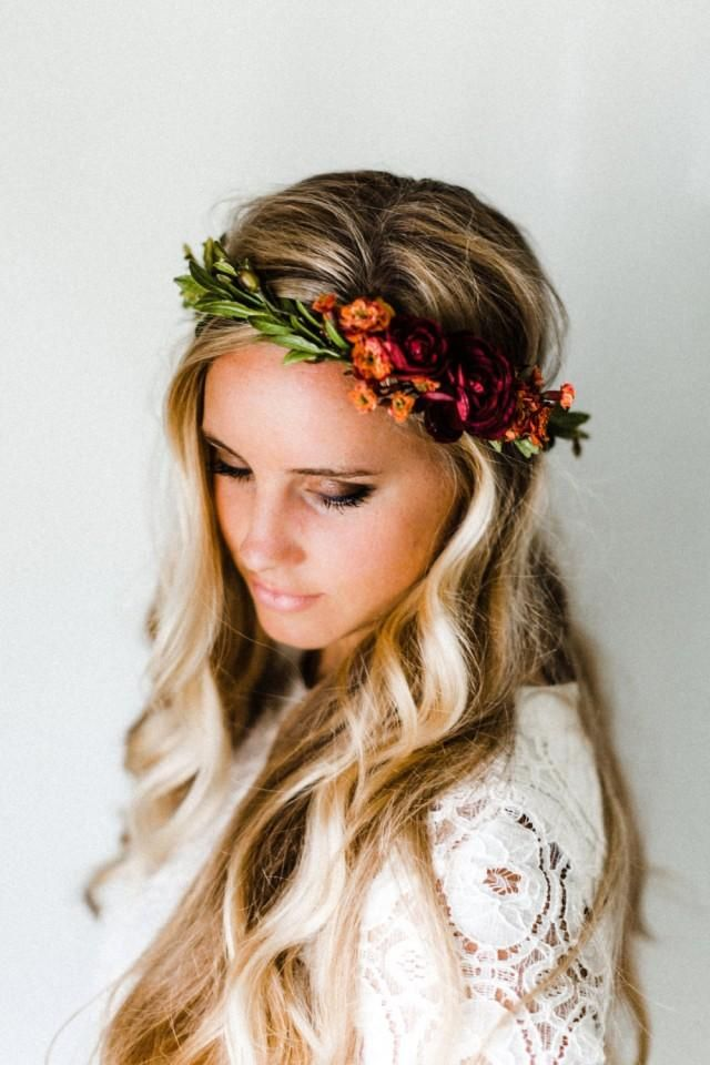 Rustic orange, gold   maroon hues paired with a fall-toned green make this the perfect flower crown for your fall wedding!