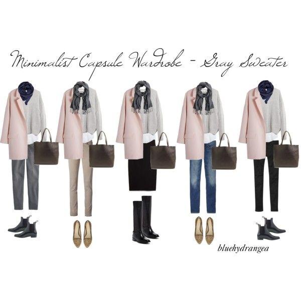Minimalist Wardrobe - Gray Sweater by bluehydrangea on Polyvore featuring Madewell, J.Crew, Gap, Siviglia, MANGO, Cole Haan, Adrienne Vittadini and Just Female