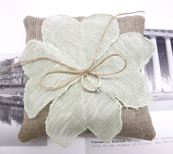 Wedding linen heart ring pillow Ring bearer pillow holder Bridal ring cushion mint green burlap. $25.00, via Etsy.