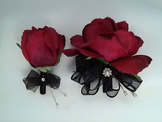 Red Rose Corsage and Boutonniere by BecauseOfLoveFloral on Etsy