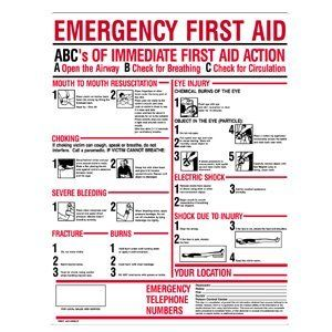 "First Aid Only M5045 ABC's of Emergency First Aid Plastic Sign by First Aid Only. $16.56. Model Number: M5045|UOM: EA|Size: 24"" X 19""