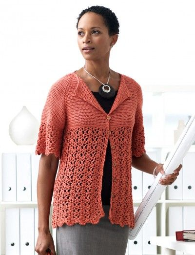 Pretty elbow-sleeve cardigan with empire waist, lace, and scalloped edging: free crochet pattern