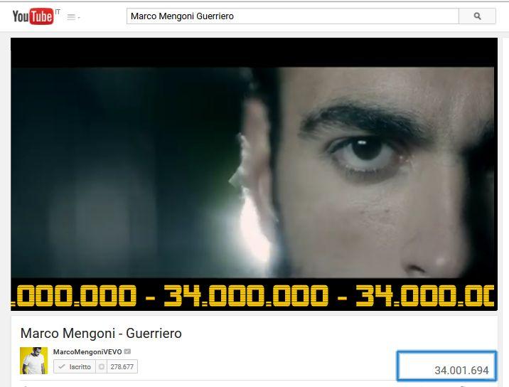 #Guerriero supera i 34 milioni di visualizzazioni su youtube.