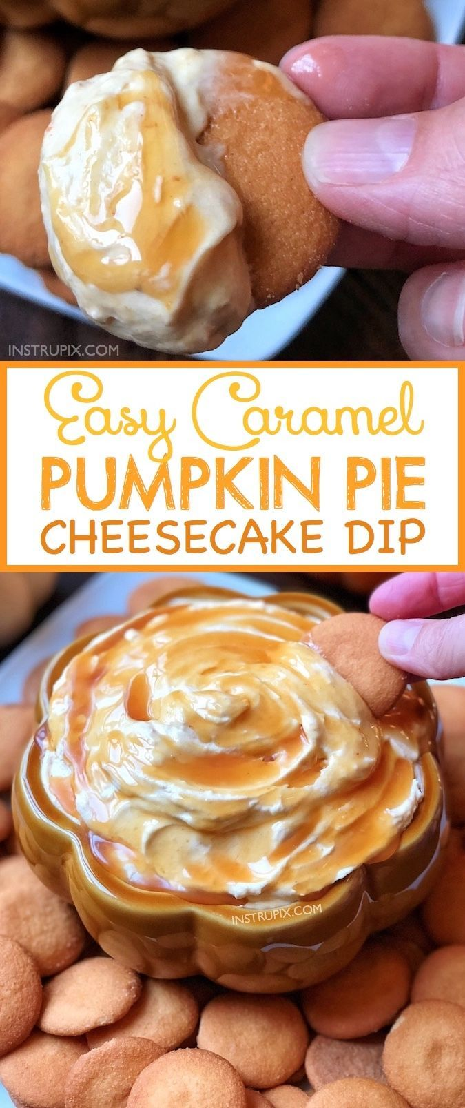 No bake, quick and easy pumpkin dessert (or appetizer)! Caramel Pumpkin Pie Cheesecake Dip Recipe (made with cream cheese, cool whip, pumpkin pie mix and caramel!) Serve with ginger snaps, Nilla Wafers, pretzels, graham crackers or apples. Perfect for Fall and Thanksgiving! Instrupix.com