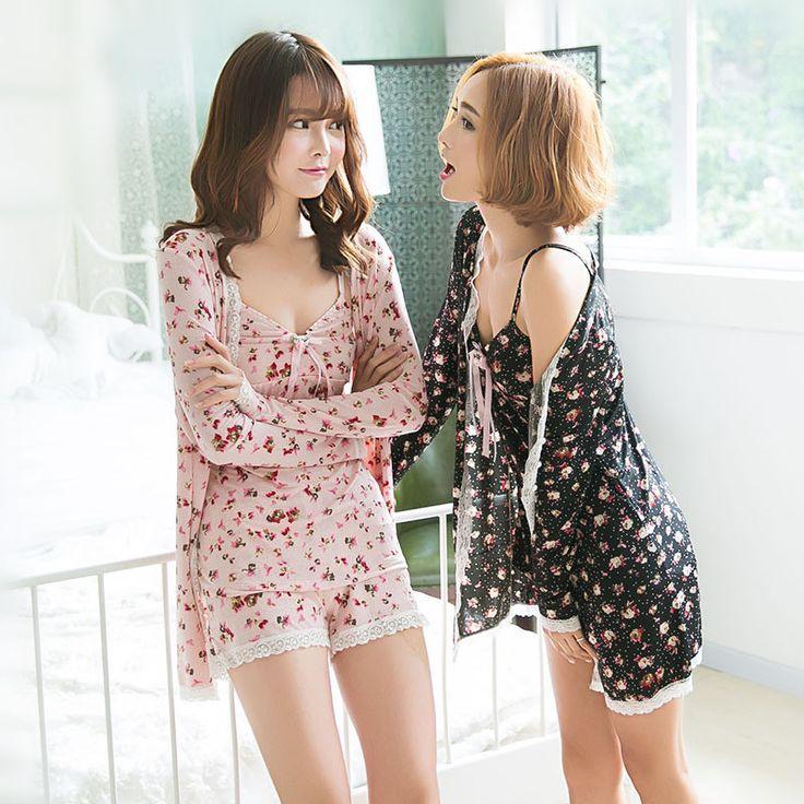 2016 Pyjamas Women New 2016 Silk Satin Pajamas Cute Korean Pajamas Three Piece Set Female Home Sleepwear Adult Pajama Pant