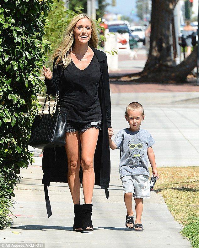 Yummy mummy: Kristin Cavallari turned heads as she took a stroll in West Hollywood on Tuesday morningwith son Camden, three