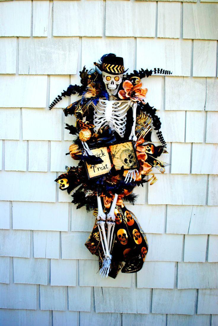 Halloween Wreath, Skeleton Wreath, 3 ft Tall Skeleton Wreath on Swag, Crows, Skulls, Jewels, Spooky Black and Gold Theme by TisTheSeasonDesign on Etsy