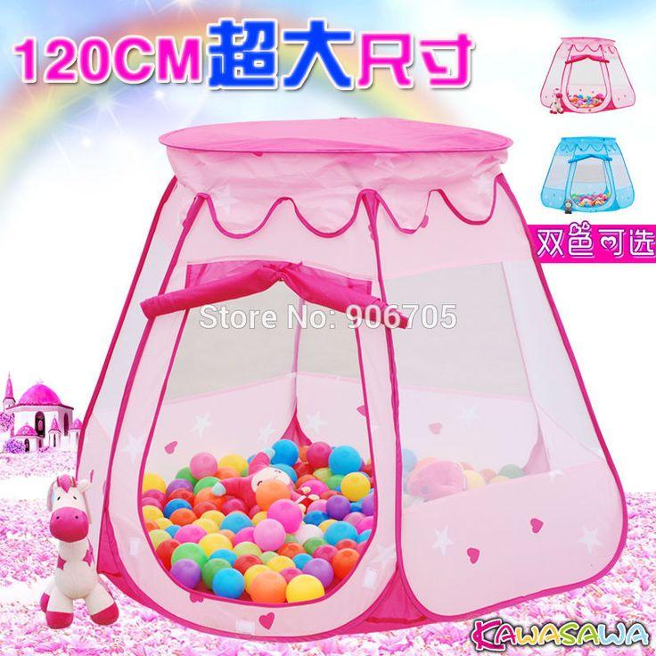 Portable Girl Princess Castle Children Kids Pop Up Play House Kids Tent Children Indoor Outdoor Princess Castle pink and blue