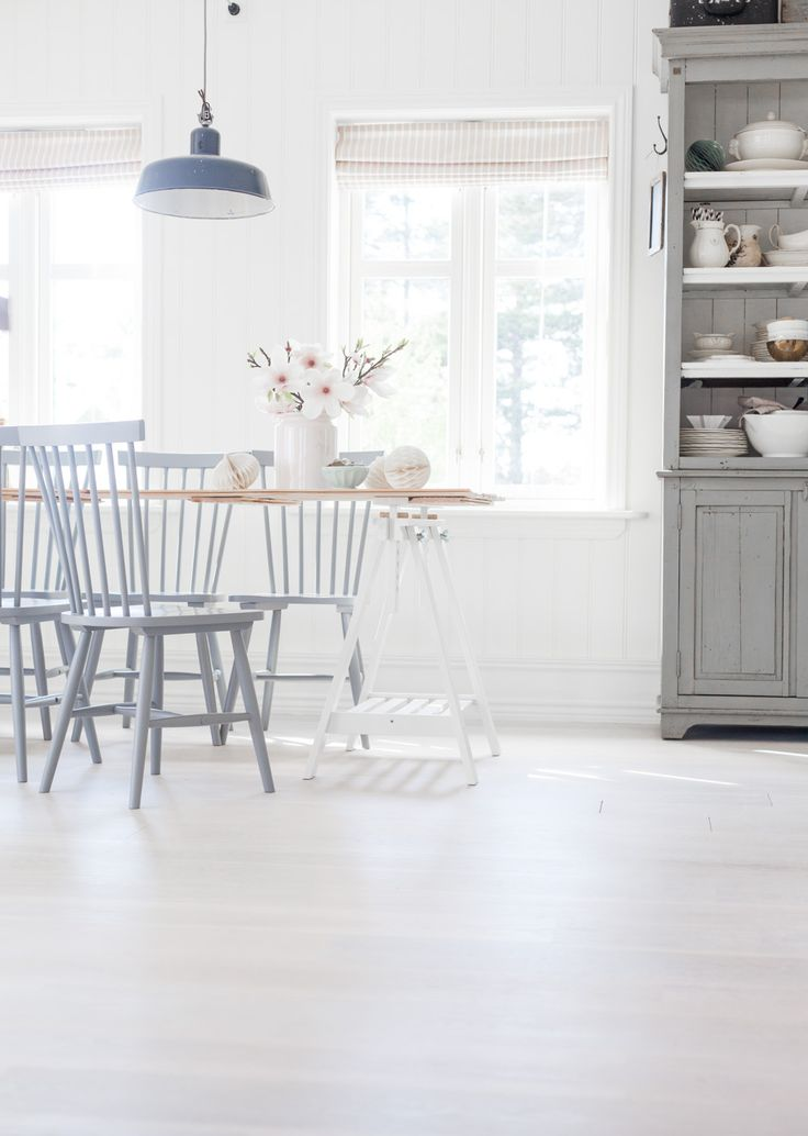 anetteshus-spring kitchen - love the light blue and grey with the white - perfect spring kitchen
