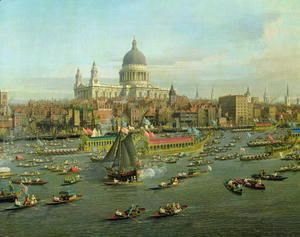 The River Thames with St. Paul's Cathedral on Lord Mayor's Day, detail of St. Paul's Cathedral, c.1747-48  (Giovanni Antonio Canal) Canaletto