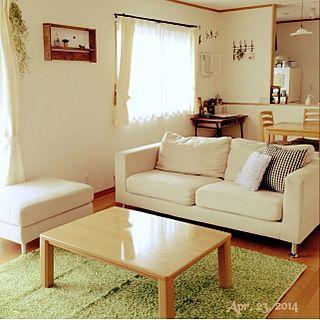 ニトリのラグ2年目×なるべくリビングはスッキリと。のインテリア実例 ... Lounge/こたつバイバイ♡/テーブル変えたい/ニトリのラグ2年目
