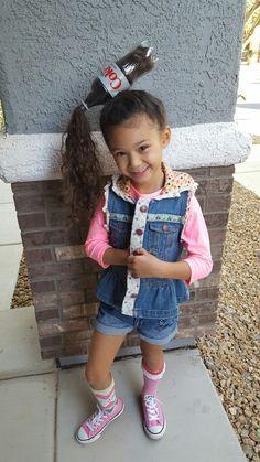 Desisofancy first school crazy hair day. Diet Coke her dads favorite drink.  Hair done by me her mamma.  #cosmetologist #hairstylist #licensedtorunwithscissors #crazyhairday