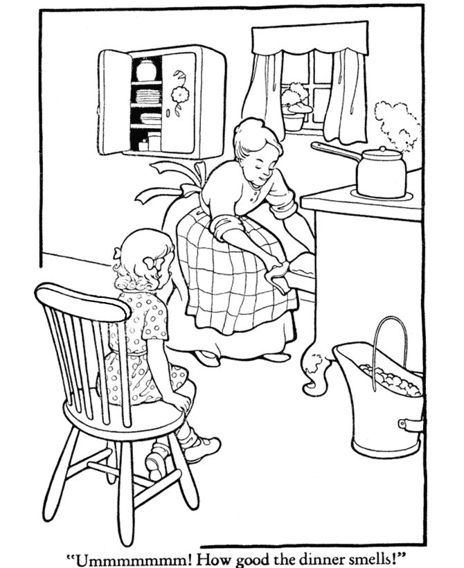 Mom Cooking For All Coloring Pages : Mom Cooking For All Coloring Pages