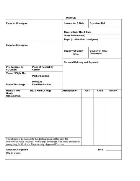 sample export invoice export invoice format
