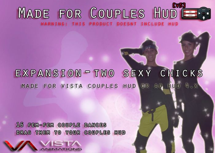 VISTA ANIMATIONS-MOCAP COUPLES ADDON TWO SEXY CHICKS https://www.youtube.com/watch?v=el4tzvWS3Eo&feature=youtu.be