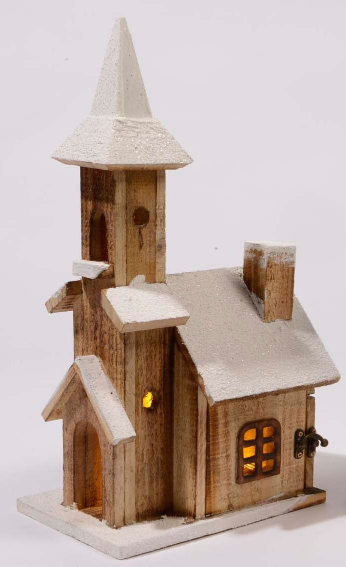 42cm House Rustic Wooden Christmas Village Decoration With 10 Warm